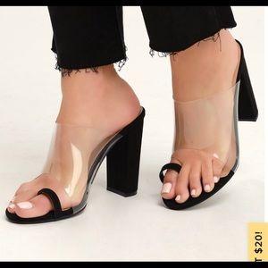 Lulus black clear toe strap heels sandals
